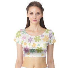 Beautiful spring flowers background Short Sleeve Crop Top (Tight Fit)