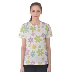Beautiful spring flowers background Women s Cotton Tee