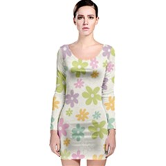 Beautiful spring flowers background Long Sleeve Bodycon Dress