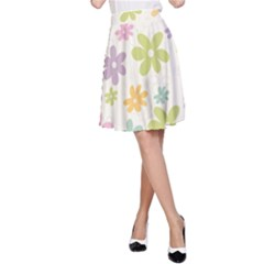 Beautiful spring flowers background A-Line Skirt