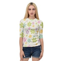 Beautiful spring flowers background Quarter Sleeve Tee