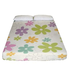 Beautiful spring flowers background Fitted Sheet (Queen Size)