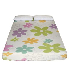 Beautiful spring flowers background Fitted Sheet (King Size)