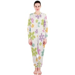 Beautiful spring flowers background OnePiece Jumpsuit (Ladies)