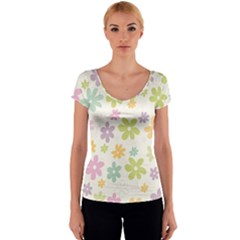 Beautiful spring flowers background Women s V-Neck Cap Sleeve Top