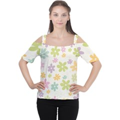 Beautiful spring flowers background Women s Cutout Shoulder Tee