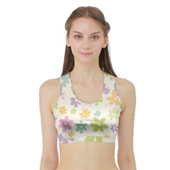 Beautiful spring flowers background Sports Bra with Border