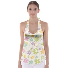 Beautiful spring flowers background Babydoll Tankini Top