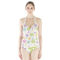 Beautiful spring flowers background Halter Swimsuit