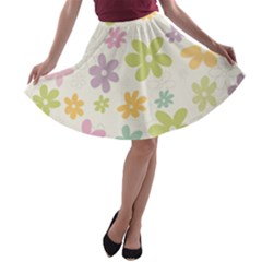 Beautiful spring flowers background A-line Skater Skirt