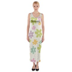 Beautiful spring flowers background Fitted Maxi Dress