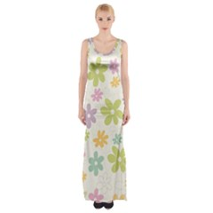 Beautiful spring flowers background Maxi Thigh Split Dress