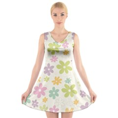 Beautiful spring flowers background V-Neck Sleeveless Skater Dress