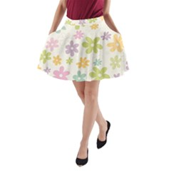 Beautiful spring flowers background A-Line Pocket Skirt