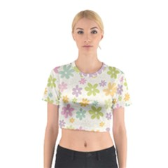 Beautiful spring flowers background Cotton Crop Top