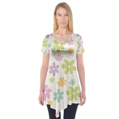 Beautiful spring flowers background Short Sleeve Tunic