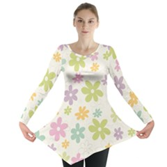 Beautiful spring flowers background Long Sleeve Tunic