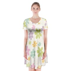 Beautiful spring flowers background Short Sleeve V-neck Flare Dress