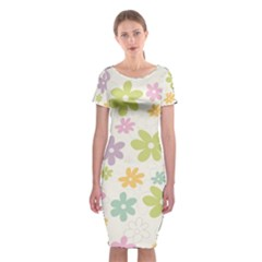 Beautiful spring flowers background Classic Short Sleeve Midi Dress