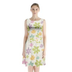 Beautiful spring flowers background Sleeveless Waist Tie Chiffon Dress
