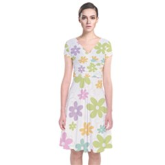 Beautiful spring flowers background Short Sleeve Front Wrap Dress