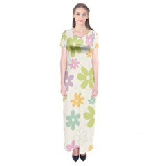 Beautiful spring flowers background Short Sleeve Maxi Dress