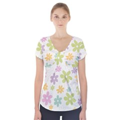 Beautiful spring flowers background Short Sleeve Front Detail Top