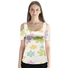Beautiful spring flowers background Butterfly Sleeve Cutout Tee