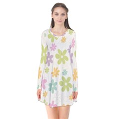 Beautiful spring flowers background Flare Dress