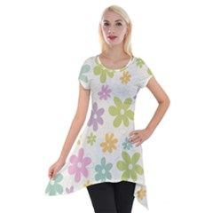 Beautiful spring flowers background Short Sleeve Side Drop Tunic