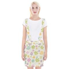 Beautiful spring flowers background Braces Suspender Skirt