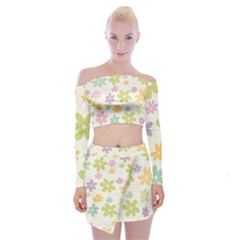 Beautiful spring flowers background Off Shoulder Top with Skirt Set