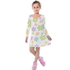Beautiful spring flowers background Kids  Long Sleeve Velvet Dress
