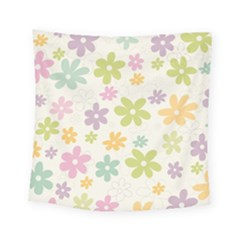 Beautiful spring flowers background Square Tapestry (Small)