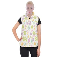 Beautiful spring flowers background Women s Button Up Puffer Vest