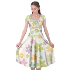 Beautiful spring flowers background Cap Sleeve Wrap Front Dress
