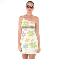 Beautiful spring flowers background One Soulder Bodycon Dress