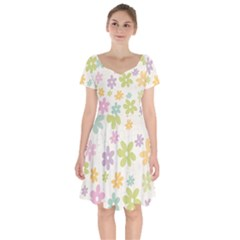 Beautiful spring flowers background Short Sleeve Bardot Dress