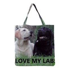I Love My Labs W Pic Grocery Tote Bag