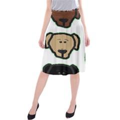 Lab 3 Colors Cartoon Head Midi Beach Skirt