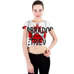 Lab Name Canadian Flag Paw Crew Neck Crop Top