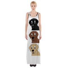 Labs 3 Colors Cartoon Head Maxi Thigh Split Dress