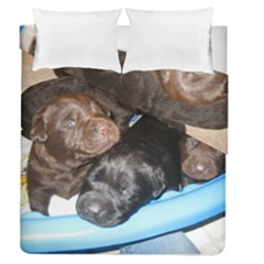 Litter Of Lab Pups Duvet Cover Double Side (Queen Size)