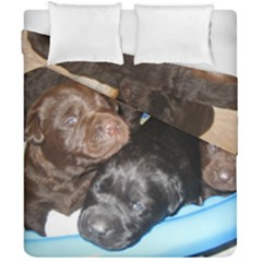 Litter Of Lab Pups Duvet Cover Double Side (California King Size)