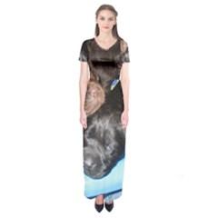 Litter Of Lab Pups Short Sleeve Maxi Dress