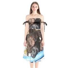 Litter Of Lab Pups Shoulder Tie Bardot Midi Dress