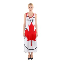 Mega Paw Canadian Flag Sleeveless Maxi Dress