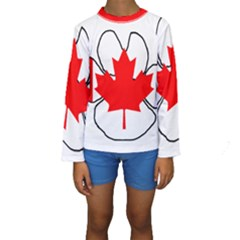 Mega Paw Canadian Flag Kids  Long Sleeve Swimwear