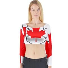 Mega Paw Canadian Flag Long Sleeve Crop Top