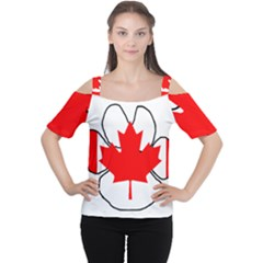 Mega Paw Canadian Flag Women s Cutout Shoulder Tee